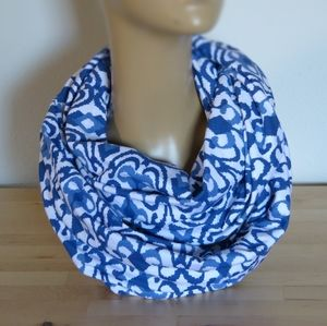 Handmade Blue and White Cotton Infinity Scarf